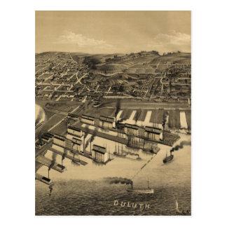 Vintage Pictorial Map of Duluth Minnesota (1887) Postcard