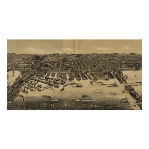 Vintage Pictorial Map of Duluth Minnesota (1887) Poster