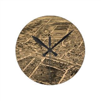 Vintage Pictorial Map of Durham NC (1891) Clocks