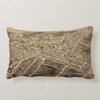 Vintage Pictorial Map of Durham NC (1891) Lumbar Pillow
