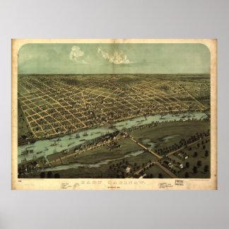 Vintage Pictorial Map of East Saginaw MI (1876) Poster