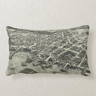 Vintage Pictorial Map of Edgartown MA (1886) Lumbar Pillow