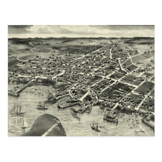 Vintage Pictorial Map of Edgartown MA (1886) Postcard
