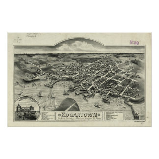 Vintage Pictorial Map of Edgartown MA (1886) Poster