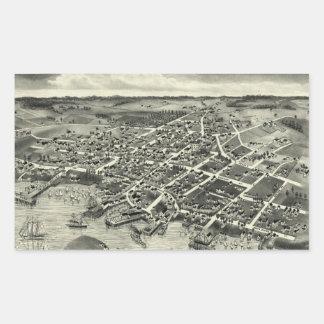 Vintage Pictorial Map of Edgartown MA (1886) Rectangular Sticker