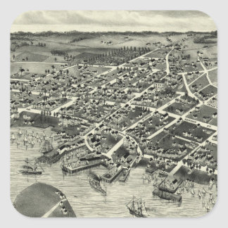 Vintage Pictorial Map of Edgartown MA (1886) Square Sticker