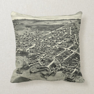Vintage Pictorial Map of Edgartown MA (1886) Throw Pillow