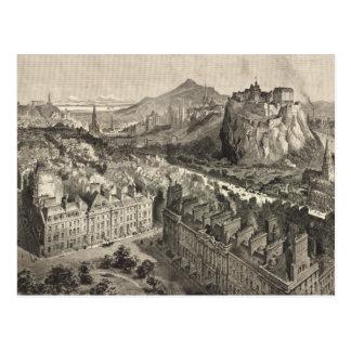 Vintage Pictorial Map of Edinburgh Scotland (1886) Postcard