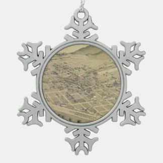Vintage Pictorial Map of El Paso Texas (1886) Snowflake Pewter Christmas Ornament
