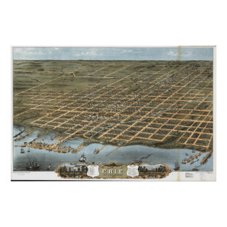 Vintage Pictorial Map of Erie Pennsylvania (1870) Poster