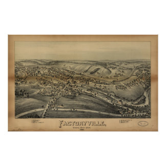 Vintage Pictorial Map of Factoryville PA (1891) Poster