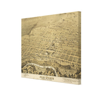 Vintage Pictorial Map of Fort Worth Texas (1876) Canvas Print