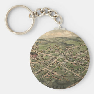 Vintage Pictorial Map of Foxborough MA (1879) Basic Round Button Keychain