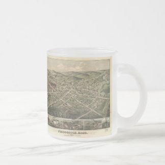 Vintage Pictorial Map of Foxborough MA (1879) Frosted Glass Coffee Mug
