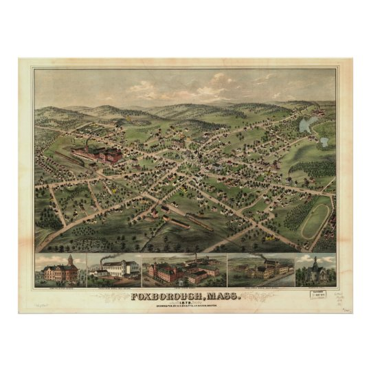Vintage Pictorial Map of Foxborough MA (1879) Poster
