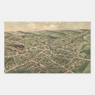 Vintage Pictorial Map of Foxborough MA (1879) Rectangular Sticker