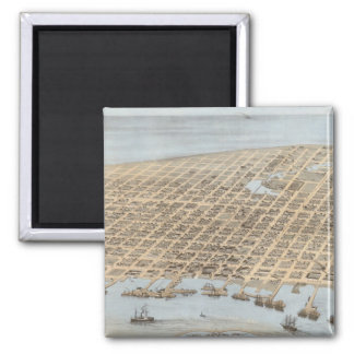 Vintage Pictorial Map of Galveston (1871) 2 Inch Square Magnet