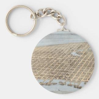 Vintage Pictorial Map of Galveston (1871) Basic Round Button Keychain