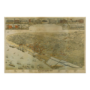 Galveston Tx Map Art Framed Artwork Zazzle - Vintage texas map framed