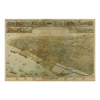 Vintage Pictorial Map of Galveston TX (1885) Poster