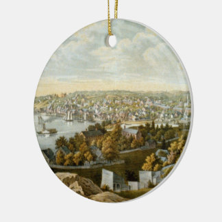 Vintage Pictorial Map of Georgetown (1855) Ceramic Ornament