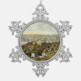 Vintage Pictorial Map of Georgetown (1855) Snowflake Pewter Christmas Ornament