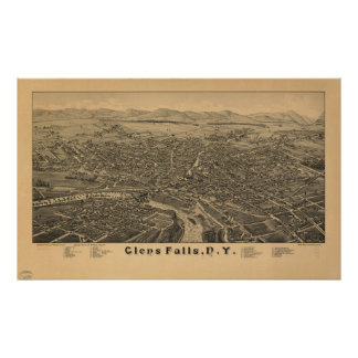 Vintage Pictorial Map of Glens Falls NY (1884) Poster