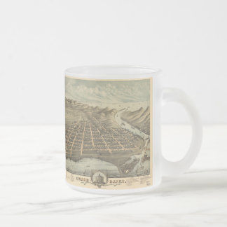 Vintage Pictorial Map of Grand Haven MI (1874) Frosted Glass Coffee Mug