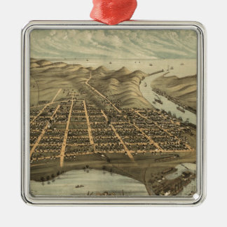 Vintage Pictorial Map of Grand Haven MI (1874) Square Metal Christmas Ornament