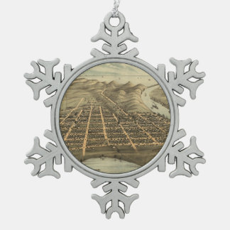 Vintage Pictorial Map of Grand Haven MI (1874) Snowflake Pewter Christmas Ornament