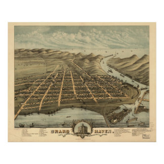Vintage Pictorial Map of Grand Haven MI (1874) Poster