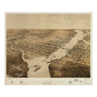Vintage Pictorial Map of Green Bay WI (1867) Poster