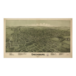 Vintage Pictorial Map of Greensburg PA (1901) Poster