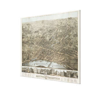 Vintage Pictorial Map of Hartford CT (1877) Canvas Print