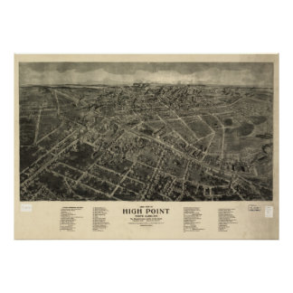 Vintage Pictorial Map of High Point NC (1913) Poster