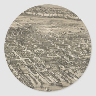Vintage Pictorial Map of Hoboken NJ (1881) Classic Round Sticker
