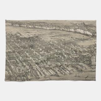 Vintage Pictorial Map of Hoboken NJ (1881) Hand Towel
