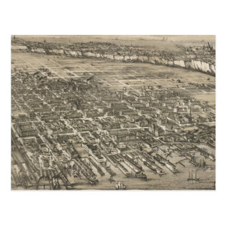 Vintage Pictorial Map of Hoboken NJ (1881) Postcard