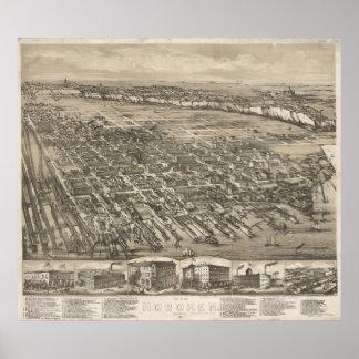 Vintage Pictorial Map of Hoboken NJ (1881) Poster