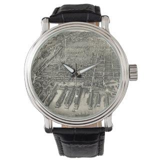 Vintage Pictorial Map of Hoboken NJ (1881) Wristwatch