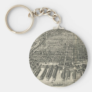 Vintage Pictorial Map of Hoboken NJ (1904) Basic Round Button Keychain
