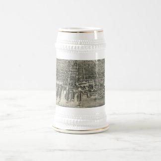 Vintage Pictorial Map of Hoboken NJ (1904) Beer Stein