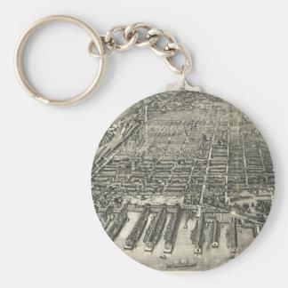 Vintage Pictorial Map of Hoboken NJ (1904) Keychain