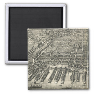 Vintage Pictorial Map of Hoboken NJ (1904) Magnet