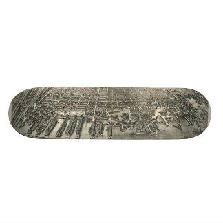 Vintage Pictorial Map of Hoboken NJ (1904) Skateboard Deck