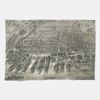 Vintage Pictorial Map of Hoboken NJ (1904) Towel