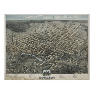 Vintage Pictorial Map of Houston Texas (1873) Poster