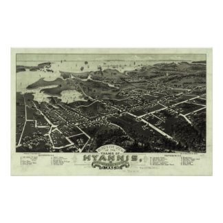 Vintage Pictorial Map of Hyannis MA (1884) Poster