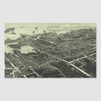 Vintage Pictorial Map of Hyannis MA (1884) Rectangular Sticker
