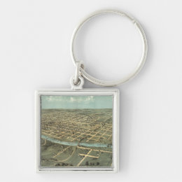 Vintage Pictorial Map of Iowa City (1868) Keychain